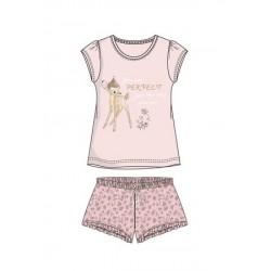 Dámský komplet / pyžamo s kr. rukávem + kraťase Bambi - světle růžová