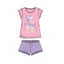 Dámský komplet / pyžamo s kr. rukávem + kraťase Bambi - růžovo-fialová