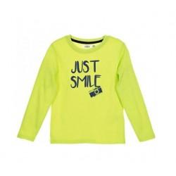"""Triko s dl. rukávem """"just smile"""" - žluto-zelené"""