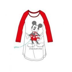 Dámská noční košile s dl. rukávem Mickey Mouse - červená