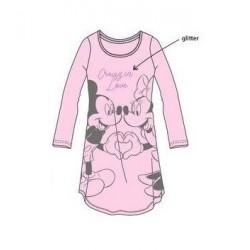 Dámská noční košile s dl. rukávem Minnie & Mickey - růžová