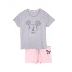 Dámský komplet - pyžamo s kr. rukávem + kraťase Mickey Mouse - šedá