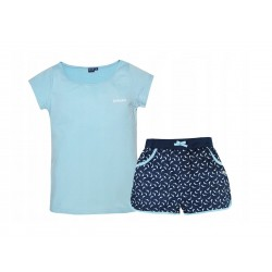 Dámský komplet - triko s kr. rukávem + kraťase - světle modrá