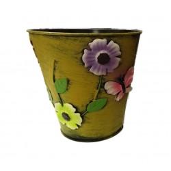 Plechový květináč - žlutý