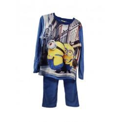 Teplé zimní pyžamo s dl. rukávem + kahoty Mimoni - modré