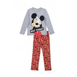 Pyžamo s dl. rukávem + kalhoty Mickey Mouse - šedá/červená