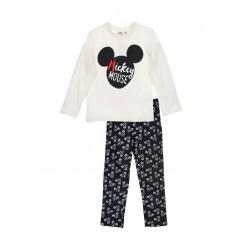 Pyžamo s dl. rukávem + kalhoty Mickey Mouse - bílá/černá