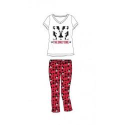 Dámský komplet / pyžamo - triko s kr. rukávem + 3/4 kalhoty Mickey Mouse - červeno-bílá
