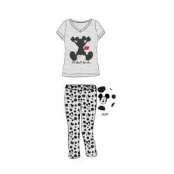 Dámský komplet / pyžamo - triko s kr. rukávem + 3/4 kalhoty Mickey Mouse - šedá