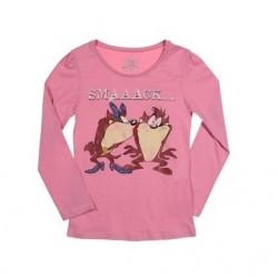 Triko s dl. rukávem Looney Tunes (Tasmánský čert) - růžové