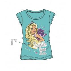 Triko s kr. rukávem Barbie - modrozelená