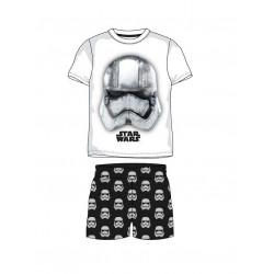 Komplet / pyžamo s kr. rukávem + kraťase Star wars - černo/bílá