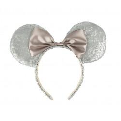 Čelenka s oušky Minnie Mouse - stříbrná