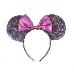Čelenka s oušky Minnie Mouse - duhová