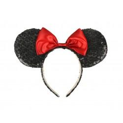 Čelenka s oušky Minnie Mouse - černá s červenou mašlí