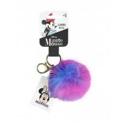 Pom-pom klíčenka Minnie Mouse - růžovo-bílá