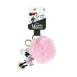 Pom-pom klíčenka Minnie Mouse - růžová