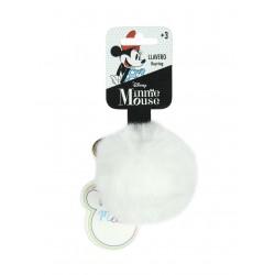 Pom-pom klíčenka Minnie Mouse - bílá