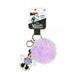 Pom-pom klíčenka Minnie Mouse - světle fialová