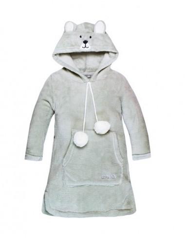 Domácí mikina s kapucí s ouškama (medvídek) - šedá