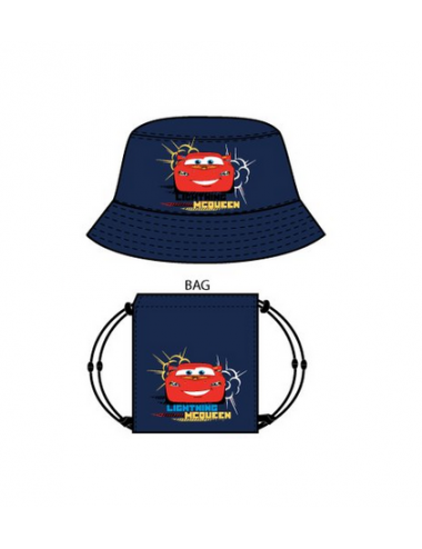 Set klobouček + pytlík Auta - tmavě modrá