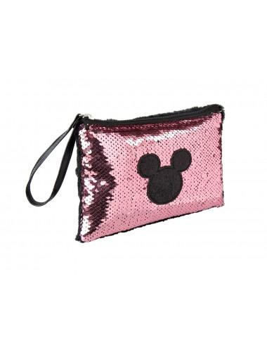 Kosmetická taštička / pouzdro s měnícími flitry Mickey Mouse - růžová