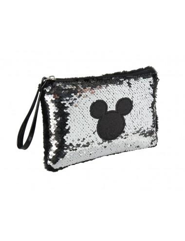 Kosmetická taštička / pouzdro s měnícími flitry Mickey Mouse - stříbrná