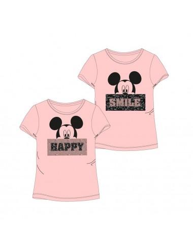 Dámské triko s měnícími flitry Minnie Mouse - růžové