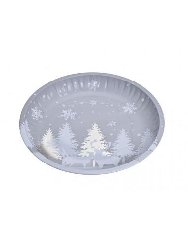 Plechový talíř - zimní les (šedý)