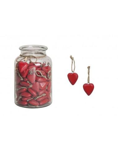 Dřevěná dekorace - červené srdce na pověšení