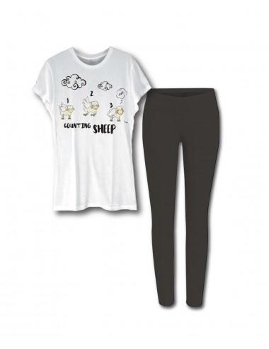 Dámské pyžamo - bílé triko + černé kalhoty