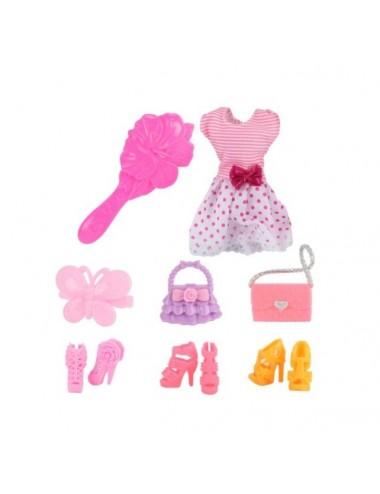 Šaty a sada doplňků pro panenku