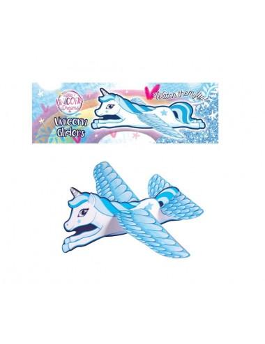 Letadlo - třpytivý jednorožec (modrý)