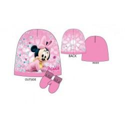 Čepice + palčáky Minnie Mouse baby - růžová