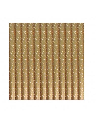 Dárkový balící papír - vánoční (zlatý s hvězdami)