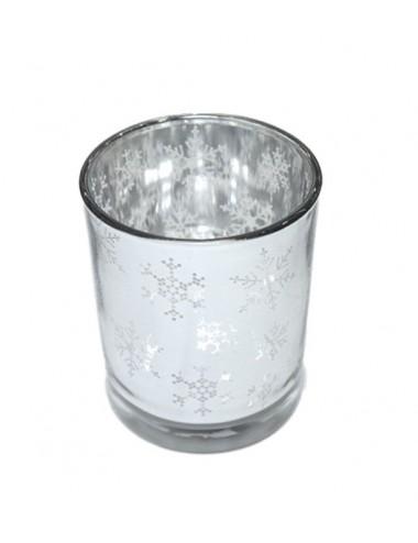 Svícen na čajovou svíčku - stříbrné vločky