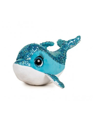 Plyšová hračka s flitry - delfín (modrá)