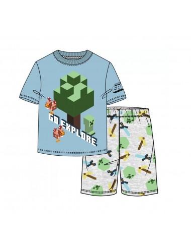 Pyžamo s kr. rukávem + kraťase Minecraft