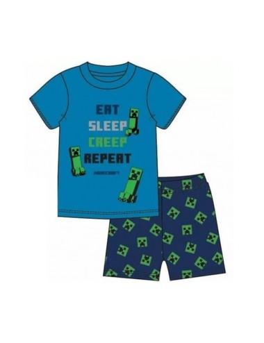 Pyžamo s kr. rukávem + kraťase Minecraft - modrá