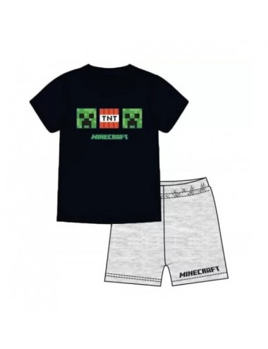 Pyžamo s kr. rukávem + kraťase Minecraft - černá