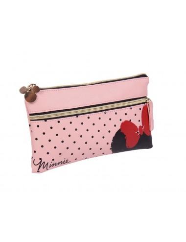 Koženková taštička Minnie Mouse - růžová s puntíky