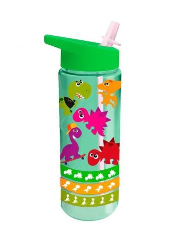 Plastová láhev s brčkem s dinosaurem