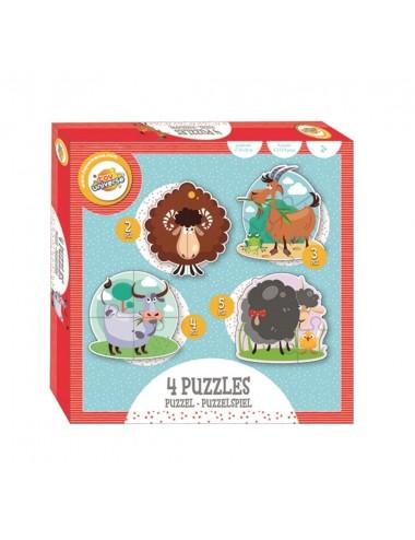 Puzzle pro nejmenší - farma (2, 3, 4 a 5 dílků)