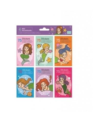 Mini knížečky se samolepkami (6 x 75ks) - mořské panny