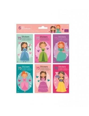 Mini knížečky se samolepkami (6 x 75ks) - princezny