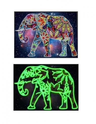 Svítící (ve tmě) diamantové malování / obraz - slon
