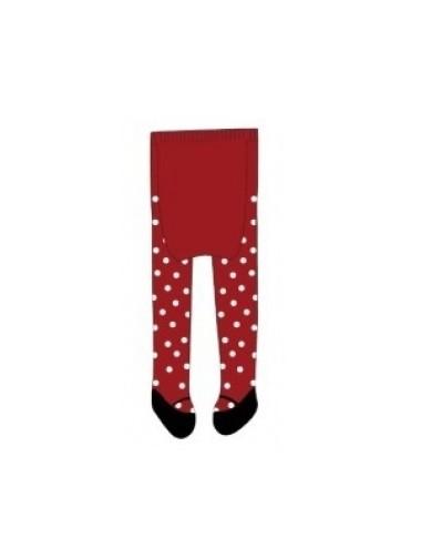 Bio punčochy - červené s puntíky