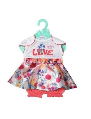 Oblečení na panenku Baby Born 43cm - šaty (krátký rukáv)