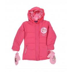 Zimní bunda / kabát + rukavice Ledové království - růžová