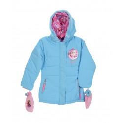 Zimní bunda / kabát + rukavice Ledové království - modrá